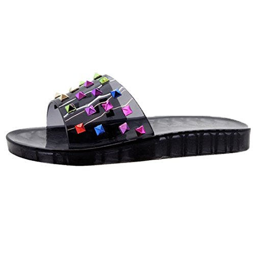 SAUTE STYLES Ladies Womens Sparkly Studded Summer Beach Slip On Sliders Mules Sandals Shoes Size 3-8 Black Studded Studs AduhlgKh