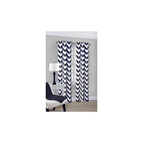 Mainstays Chevron Polyester/Cotton Curtain Panels 95-Inch, Set Of 2, Indigo