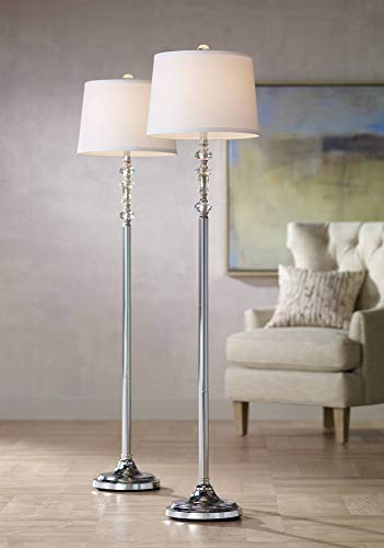 (Montrose Modern Floor Lamps Set of 2 Polished Steel Crystal Glass White Fabric Drum Shade for Living Room Reading Bedroom - 360 Lighting)