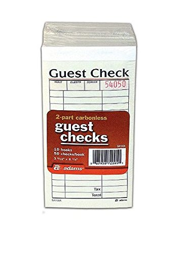 "Adams Guest Check Pads, 2-Part, Carbonless, White/Canary, 3-11/32"" x 5-3/4, 50 Sets/Pad, 10 Pads/Pack"
