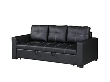 Amazon.com: Benzara BM167218 Faux Leather Convertible Sofa ...