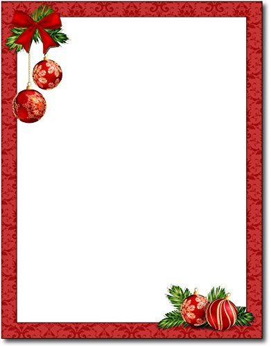 Red Christmas Bulbs Stationery Paper - 80 Sheets by Desktop Publishing Supplies, (Holiday Computer Paper)