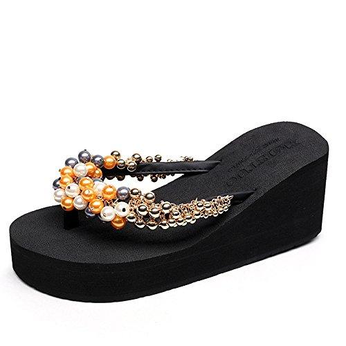 de taille CN35 plage vent 1001 femmes Pour coupe pour sandales des Couleur sandales épais d'été des femmes de UK3 HAIZHEN nationales La profond 5 a EU36 perlé chaussures 1001 fpPgqg