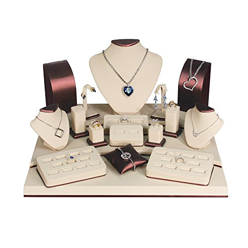 (19-Pc) Deluxe Beige/Brown Faux Leather Jewelry Display (Set79-L30), 19 1/4'' x 17'' x 10 1/2'' H by EDS BOX JEWELRY SUPPLY