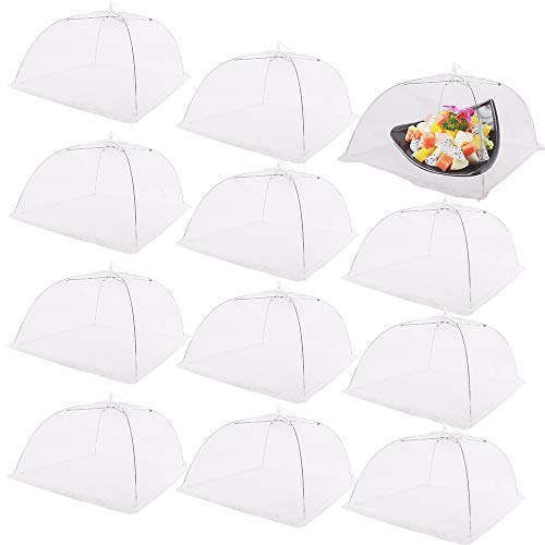 Nilos 12 Pack Large Food Covers - 17x17 Pop-Up Mesh Screen Food Tents Nets Reusable and Collapsible Food Umbrella for Outdoor, Picnic, Bugs, Parties ()