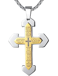 """Stainless Steel Our Father Lord's Prayer Cross Pendant Necklace, 23"""" Chain"""