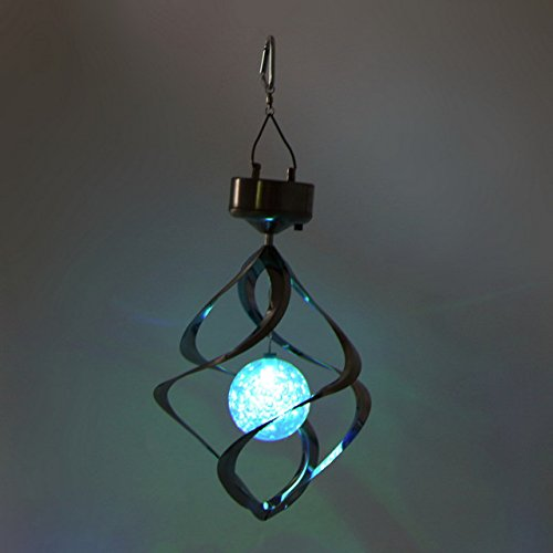 Wind Spinners - Hanging Wind Spinners - Color Changing Solar Lamp Powered LED Wind Chimes Wind Spinner Windchime Outdoor Garden Courtyard Hanging Spiral Decoratio - Solar Wind Chimes