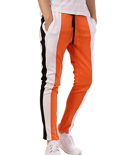 ZAXARRA Men's Athletic Skinny Track Pants Tracksuit Fitness Gym Workout Joggers Sweatpants (US-L, Orange)
