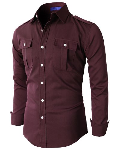 H2H Mens Casual Button Down Shirts Two Pocket And Shoulder Details WINE Asia M (KMTSTL022)