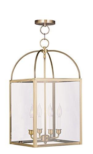Livex Lighting 4042-01 Milford 4-Light Hanging Lantern, Antique (Antique Brass Pendant Lantern)
