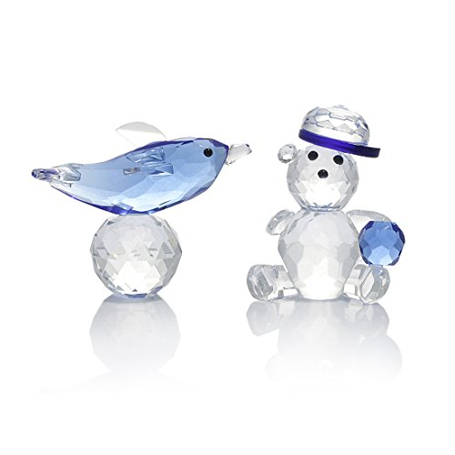 H&D Blue Crystal Baby Bear Dolphin Figurine Collection Animal Paperweight Table Centerpiece,Set of 2 -