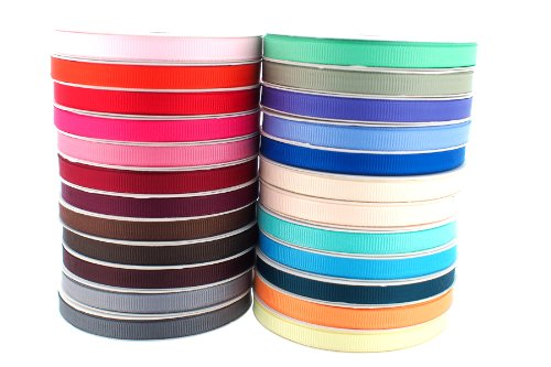 Trimweaver 1/4-Inch Grosgrain Ribbon, 5-Yard, 24 Spools, Multi Color