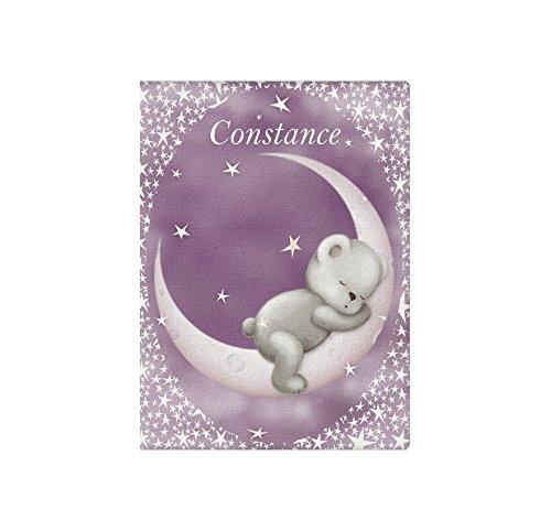 Protège carnet de santé Ours lune mauve.
