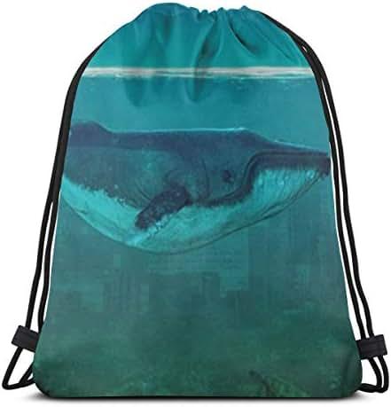 Drawstring Backpack Bag, Cinch Sack, Sport Gym Bag For Women Or Men, Ocean Whale