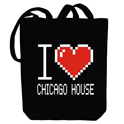 Music Bag House Chicago pixelated love Idakoos Tote Canvas I zwqpZR
