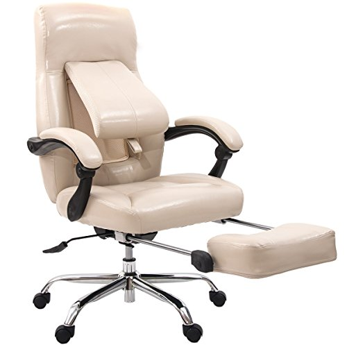 es High Back Leather Executive Swivel Home Office Chair with Adjustable Pivoting Lumbar and Footrest (Cream-coloured) (Coloured Leather)