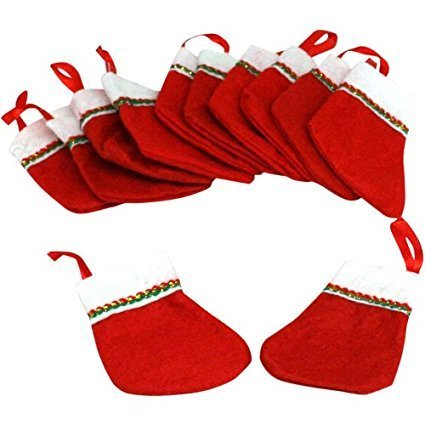 (36) Mini CHRISTMAS STOCKINGS ~ Adorable 4'' Stockings ~ Decor ~ Holiday Gifts ~ School Church Events ~ Fundraisers ~ Holiday Fairs ~ Santa by RIN