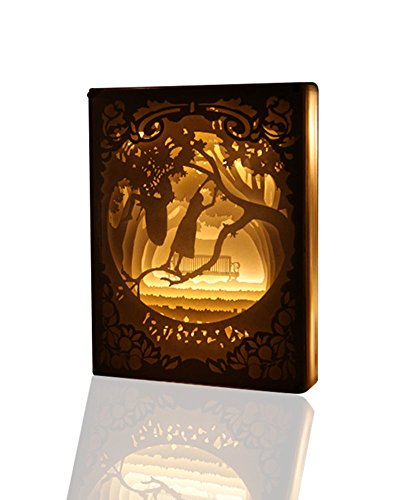 TEAM WORK Papercut Light Boxes (Climb Tree), Remote Control LED Night Light, Mood Table Lamp for Living Room, 3D Shadow Box Bedside Lamp (Shadow Tree Box)