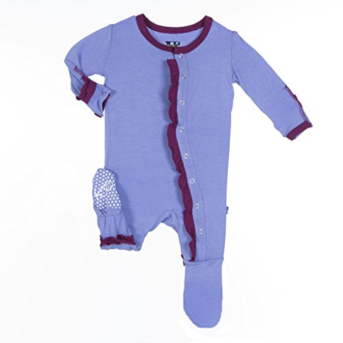 Melody Collection Oil - KicKee Pants Little Girls Ruffle Footie, Forget Me Not with Melody Trim, 0-3 Months