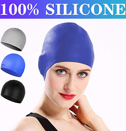 Comforer Swim Cap Silicone Swimming Cap for Women Men Adults Youths Waterproof Bathing for Long or Short Hair with 3D Ergonomic Design, Comfortable Fit Swim Caps - Blue (Best Silicone Swim Cap)
