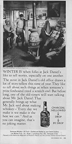 """Magazine Print ad: 1983 Jack Daniels Old No 7 Tennessee Whiskey,""""Winter is when folks at Jack daniel"""