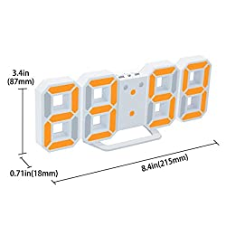 LED Digital Alarm Clock For Desk/Shelf/Tabletop, Modern Home Decoration 3D Wall Clock, Easy To Read at Night, Loud Alarm and Snooze, Big Digit Display (White)
