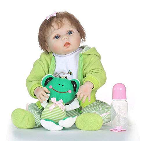 TERABITHIA 22 inch Real Life Reborn Baby Doll,Happy Frog,Girl Doll Crafted in Silicone-Like Vinyl Full Body