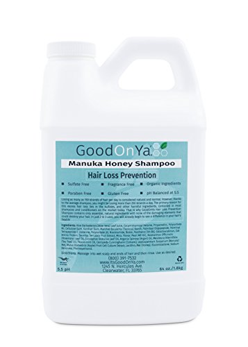 Hair Loss Prevention Shampoo with Manuka Honey Natural and Sulfate Free Organic Ingredients by GoodOnYa Best Hair Products to Preserve Hair Color and Keratin Safe with 20,000 Happy Customers by GoodOnYa