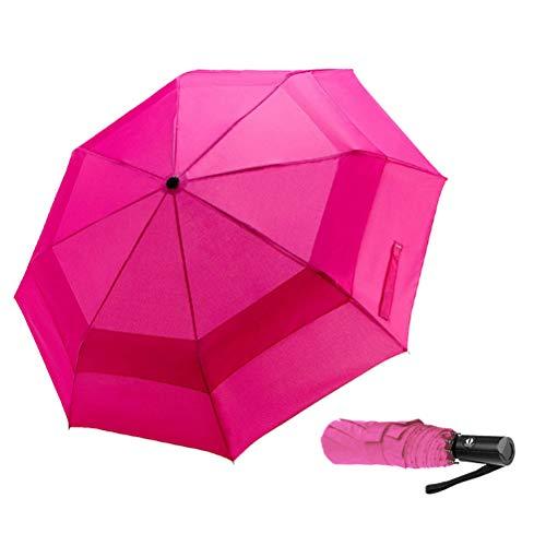 LANBRELLA Umbrella Windproof Compact Travel Umbrella Vented Double Canopy Auto Open Close - Pink