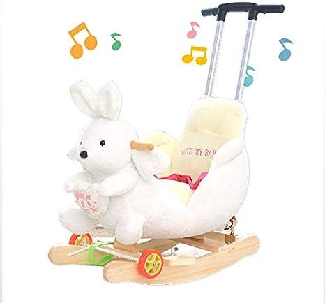 JTYX Niños mecedoras Caballo Mecedora Lavable de Interior al Aire Libre multifunción Troyano Trolley Sillas mecedoras con música para niños de 1-6 años de Juguete de Regalo