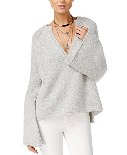 Free People Women's Lovely Lines Bell Sleeve Sweater (Large, Ivory) by Free People