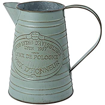 WHHOME Shabby Chic Watering Can Galvanized Finish Metal Vase Country Rustic Pitcher Primitive Jug Decorative Flower Holder, 7.5