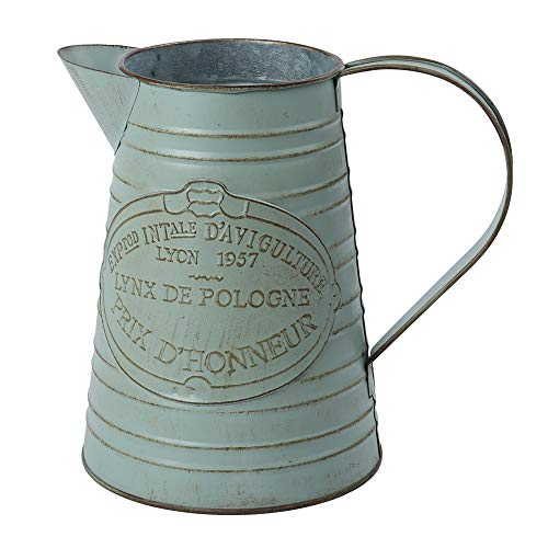 Vase Charm - WHHOME Shabby Chic Watering Can Galvanized Finish Metal Vase Country Rustic Pitcher Primitive Jug Decorative Flower Holder, 7.5