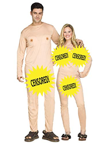 Fun World Funny Nudist Couple Jumpsuits Adult Halloween Costume Childrens Costume, Beige, Standard