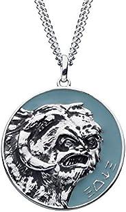 Star Wars Jewelry Star Wars   RockLove Planetary Medallion - Hoth, light blue matte, 28mm, SWRLWPPNK01SIL