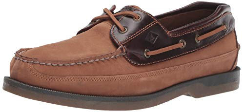 Sperry Men's Mako 2-Eye Boat Shoe, Taupe/Amaretto, 7.5 W - Lacing Eyelet System