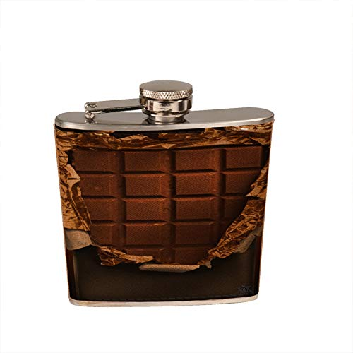 (Milk Chocolate Bar Gold Leather Flask - 6 oz. Leather Wrapped Liquor Hip Flask )