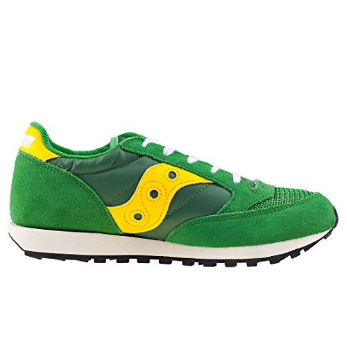 Saucony Youth Jazz Original Vintage A17000-4 Leather Trainers Green Yellow