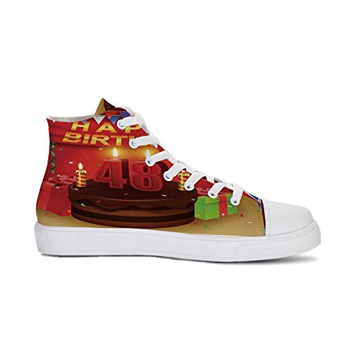 Chocolate Canvas Footwear - YOLIYANA 48th Birthday Decorations Durable High Top Canvas Shoes,Presents Chocolate Cake with Candles Party Flag Artsy Print for Men,US 13