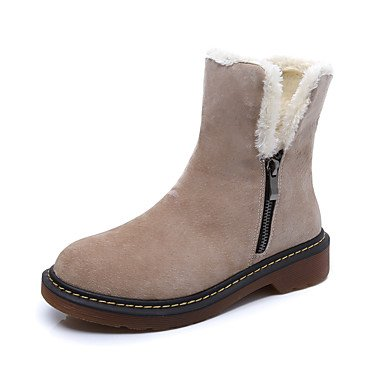 Wsx & Plm Femmes-bottines-casual-confortable-flat-cochon Cuir-noir / Kaki, Kaki, Us7.5 / Eu38 / Uk5.5 / Cn38