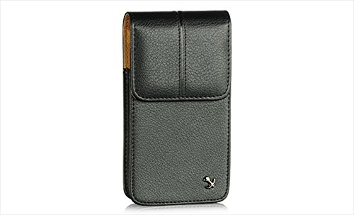 Executive High Quality Black Leather Vertical Pouch Carry Case Magnetic Flap Belt Clip for HTC Sensation 4G, EVO (Samsung Galaxy Attain 4g Case)