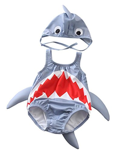 Kids Baby Boys Girls 3D Cartoon Shark One-Piece Swimsuit Bodysuit Bathing Suit with Cap Size 2-3 Years/Tag2XL (Gray)