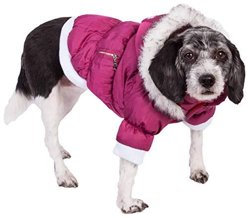 PET LIFE Classic Metallic Fashion Pet Dog Coat Jacket Parka w/ 3M Insulation and Removable Hood, Medium, Metallic Hot Pink
