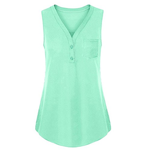 - Sunmoot Clearance Sale Plus Size Henleys Shirt Womens Sleeveless Tank Tops Summer Casual Button Blouse T-Shirt Tunic Green