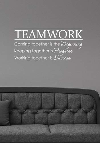 Teamwork Inspirational Quote Wall Decal Business Success Team Work Motivational Saying Vinyl Sticker Art Decorations for Office School Classroom Decor hq70 ()