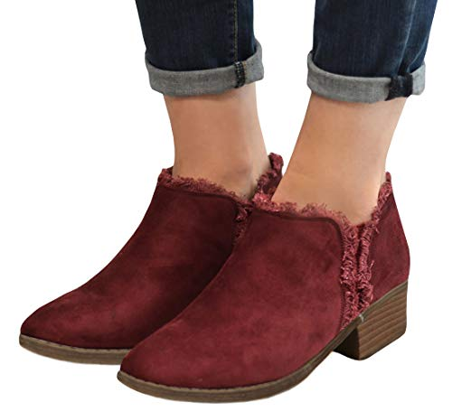 Faux Bootie Womens Suede Wine Ankle Toe Stacked Western Heel Round Nulibenna Block Red pYwvSqq
