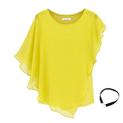 2015 New Style Women's Sexy Womens Casual T-shirt Short Sleeve Chiffon Tops Crew Neck Loose Blouse Girl's Casual Bat Sleeve Dress (Xl, - Woman Styles