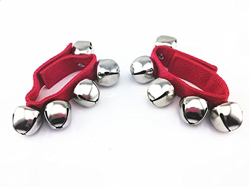 Red Jingle Bell (Yueton 1 Pair 5 Jingle Bell Rhythm Band Wrist Bells (red))