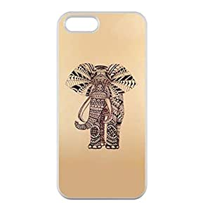 Sketch Ethnic Elephant Image Special Made for iPhone 5/5s Only Case Cover Plastic and TPU