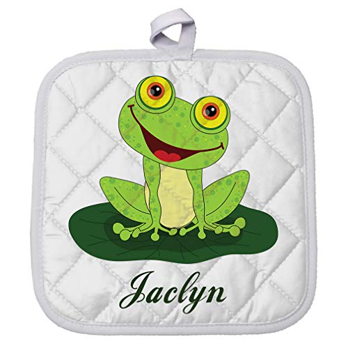 Personalized Custom Text Happy Frog Polyester Pot Holder Trivets
